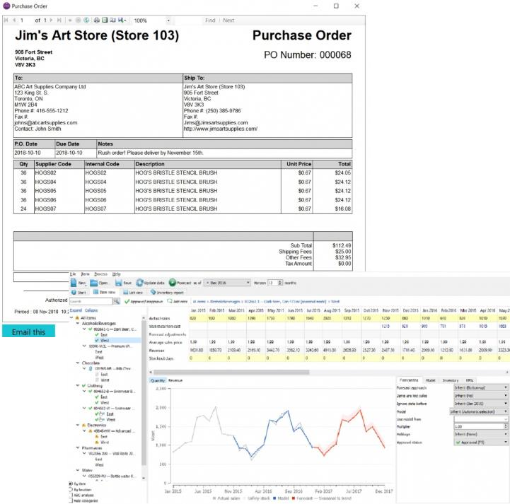 Screen shot of purchase orders