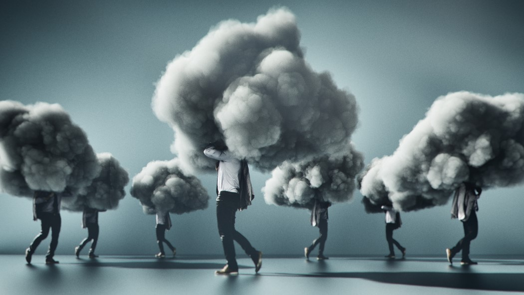 People walking with clouds on their heads